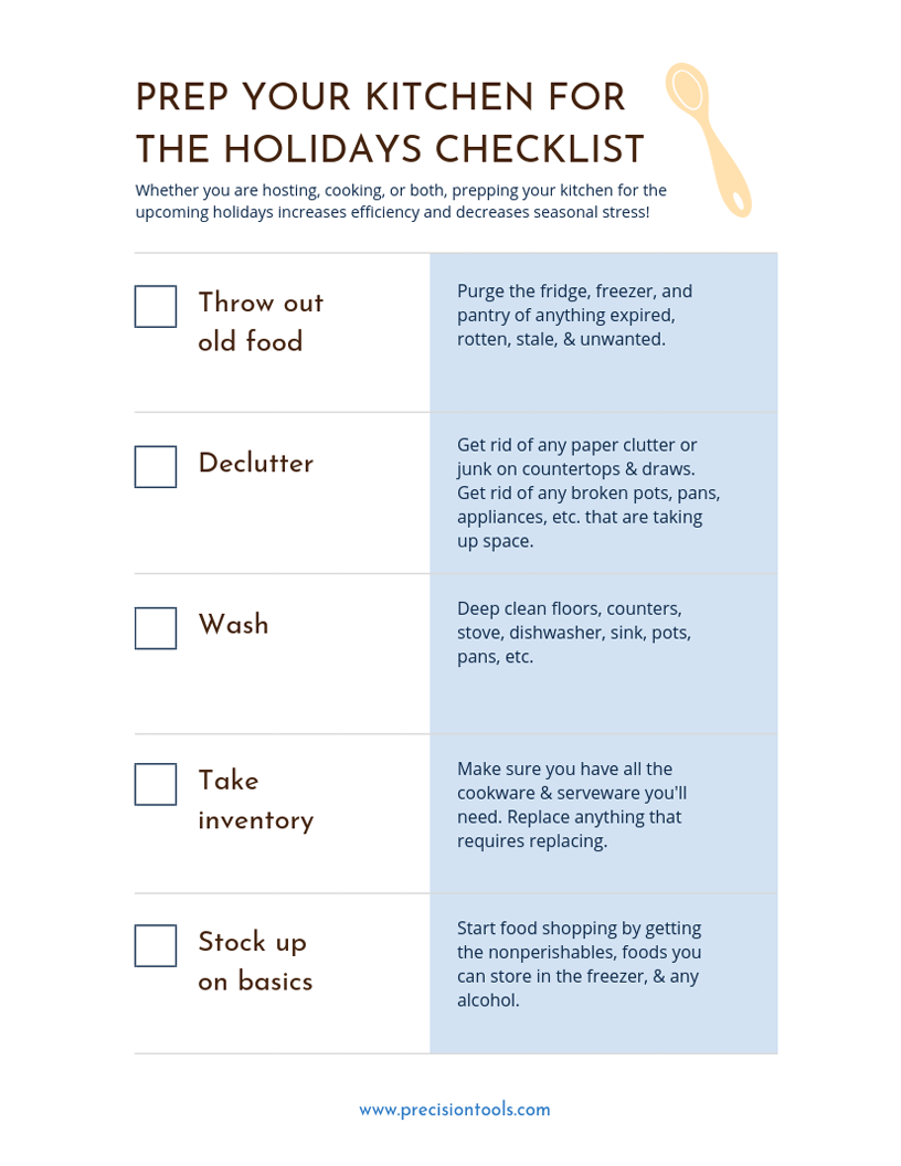 prep your kitchen for the holidays printable checklist