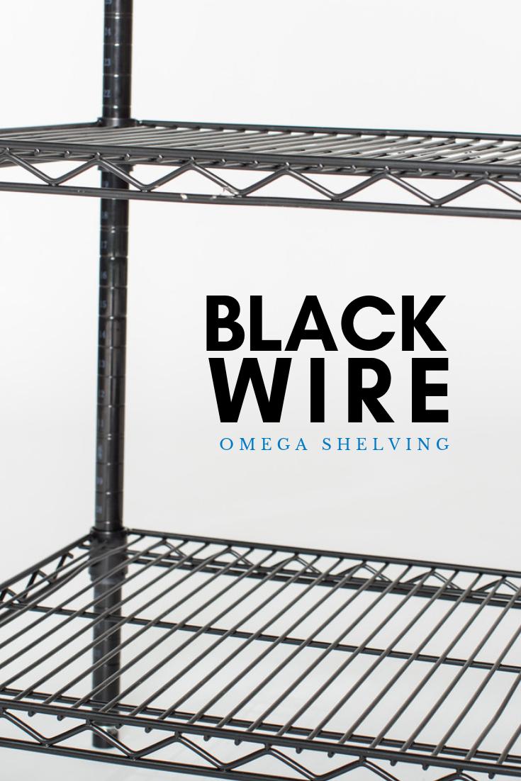 black wire omega shelving